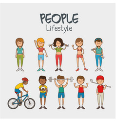 Group people healthy lifestyle vector