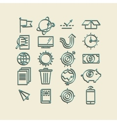Hand drawn icons concept business web media seo vector image