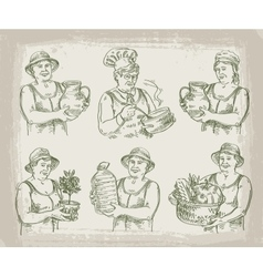 hand drawn sketch set of cook chef gardener and vector image