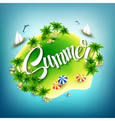 headline summer tropical island in blue sea vector image