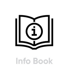 Info or guide book icon editable outline vector