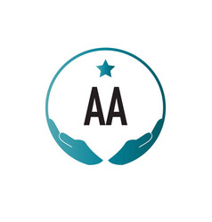Initial letter aa hand care logo design template vector