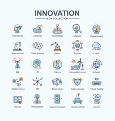Innovation icon set for futuristic technology ev vector