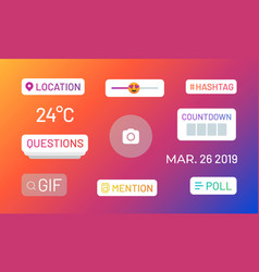 Instagram stories polls social media icons and vector