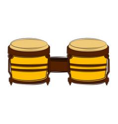Isolated bongo drum sketch musical instrument vector