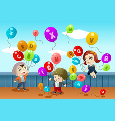 Kids learning alphabets vector