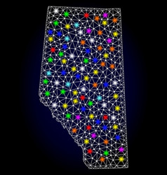 Mesh wire frame map alberta province vector