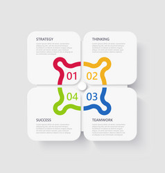 modern 3d infographic template with 4 steps for vector image
