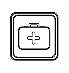 Monochrome contour of button with first aid kit vector