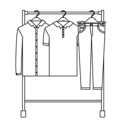 monochrome silhouette of male clothes rack with vector image