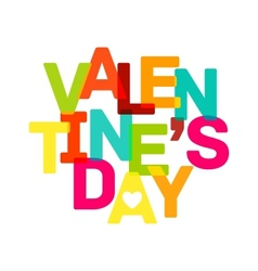 Multicolor valentines day banner bright text vector