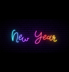 new year neon signboard festive banner with vector image