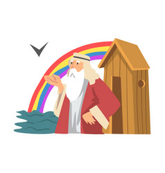Noah ark and genesis flood as narrative from vector