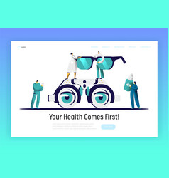 Ophthalmologist doctor analysis eyewear web page vector