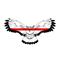 Owl with red stripe vector image