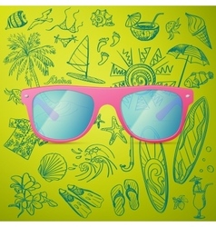 Pink Ladies Sunglasses and hand draw tourist icon vector image