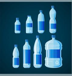 plastic bottles set on white black vector image