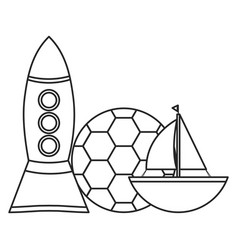 rocket toy and sailboat entertainment vector image