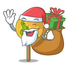 Santa with gift candy apple mascot cartoon vector