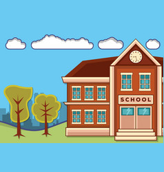 school building with landscape vector image