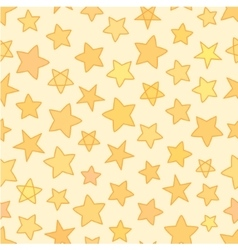 Seamless flat stars with outline patten yellow vector