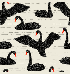 Seamless pattern with floating black swans hand vector