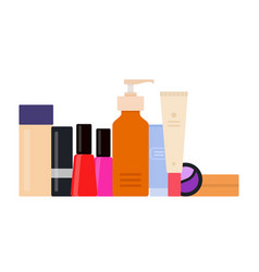 Set makeup products icon flat isolated vector
