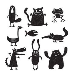Set of cartoon cute monsters vector