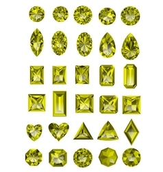 Set of realistic yellow topaz jewels vector