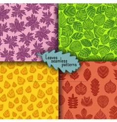 Set of seamless patterns with different tree leave vector image