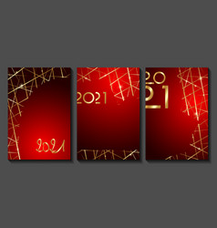 set red cards 2021 happy new year gold texture vector image
