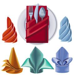 set serving napkins different colors vector image