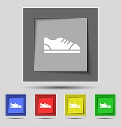 Shoe icon sign on original five colored buttons vector