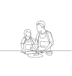 Single one line drawing happy father and daughter vector