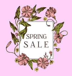 spring sale badge over hand drawn apple flowers on vector image