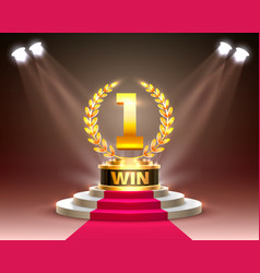 Stage cup with lighting podium scene vector
