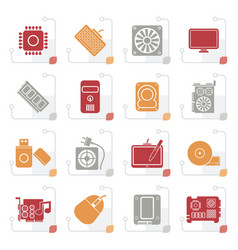 stylized computer part icons vector image