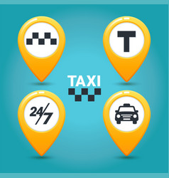 Taxi service icons taxi map pins with checkers vector