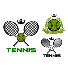 Tennis emblems with balls rackets and crowns vector image
