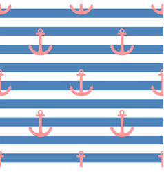 Tile sailor pattern with a red anchor on white vector