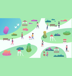 top map view of various people at park walking vector image