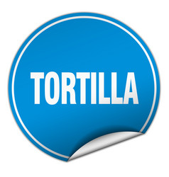 Tortilla round blue sticker isolated on white vector