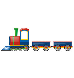 Train and two wagon carts vector