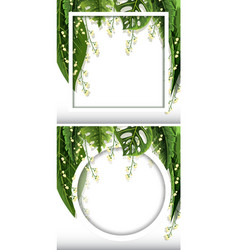 two frame templates with green leaves background vector image