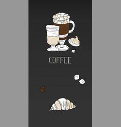 vertical coffee menu banner on black vector image