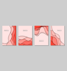vertical flyers with coral paper cut waves shapes vector image