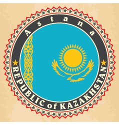 Vintage label cards of Kazakhstan flag vector