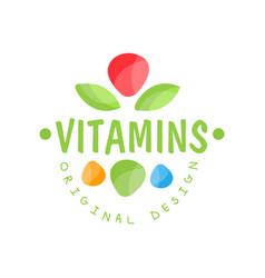Vitamins logo template original design herbal vector