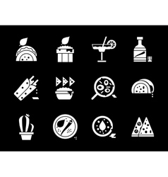 White glyph style mexican cuisine icons set vector image