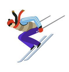 winter extreme sport man riding skis and jumping vector image